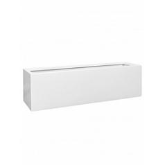 Кашпо Pottery Pots Fiberstone glossy white, белого цвета balcony L размер Длина — 70 см