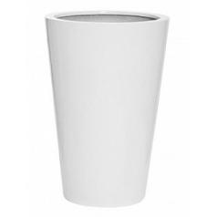 Кашпо Pottery Pots Fiberstone glossy white, белого цвета belle M размер  Диаметр — 47 см
