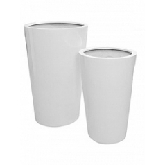 Кашпо Pottery Pots Fiberstone glossy white, белого цвета belle XXL размер  Диаметр — 100 см