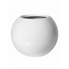 Кашпо Pottery Pots Fiberstone glossy white, белого цвета beth XS размер  Диаметр — 26 см