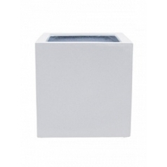 Кашпо Pottery Pots Fiberstone glossy white, белого цвета block M размер Длина — 40 см