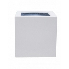 Кашпо Pottery Pots Fiberstone glossy white, белого цвета block S размер Длина — 30 см