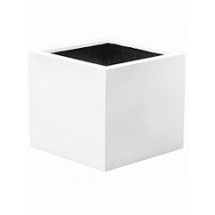 Кашпо Pottery Pots Fiberstone glossy white, белого цвета block XL размер Длина — 60 см