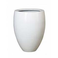 Кашпо Pottery Pots Fiberstone glossy white, белого цвета bond S размер  Диаметр — 35 см