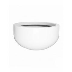 Кашпо Pottery Pots Fiberstone glossy white, белого цвета city bowl M размер  Диаметр — 110 см