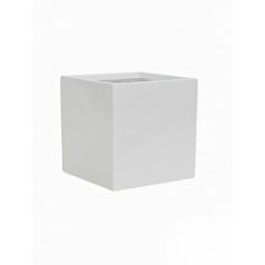 Кашпо Pottery Pots Fiberstone glossy white, белого цвета fleur M размер Длина — 20 см