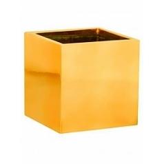 Кашпо Pottery Pots Fiberstone platinum glossy gold, под цвет золота fleur S размер Длина — 15 см