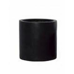 Кашпо Pottery Pots Fiberstone puk black, чёрного цвета M размер  Диаметр — 20 см