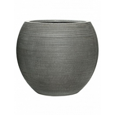 Кашпо Pottery Pots Fiberstone ridged dark grey, серого цвета abby L размер horizontal  Диаметр — 515 см
