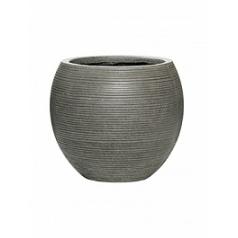 Кашпо Pottery Pots Fiberstone ridged dark grey, серого цвета abby M размер horizontal  Диаметр — 345 см