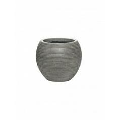 Кашпо Pottery Pots Fiberstone ridged dark grey, серого цвета abby S размер horizontal  Диаметр — 23 см