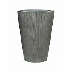 Кашпо Pottery Pots Fiberstone ridged dark grey, серого цвета belle S размер  Диаметр — 42 см