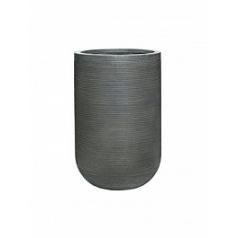 Кашпо Pottery Pots Fiberstone ridged dark grey, серого цвета cody M размер horizontal  Диаметр — 35 см