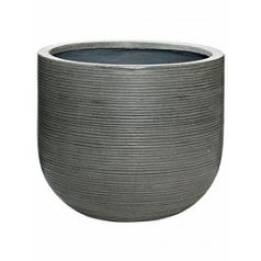 Кашпо Pottery Pots Fiberstone ridged dark grey, серого цвета dice M размер horizontal  Диаметр — 42 см