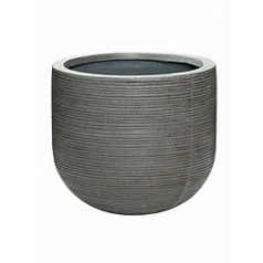 Кашпо Pottery Pots Fiberstone ridged dark grey, серого цвета dice S размер horizontal  Диаметр — 35 см
