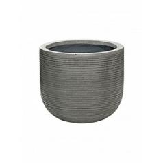 Кашпо Pottery Pots Fiberstone ridged dark grey, серого цвета dice XS размер horizontal  Диаметр — 28 см