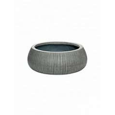 Кашпо Pottery Pots Fiberstone ridged dark grey, серого цвета eileen XL размер  Диаметр — 36 см