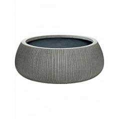 Кашпо Pottery Pots Fiberstone ridged dark grey, серого цвета eileen XXL размер  Диаметр — 53 см