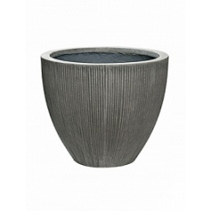 Кашпо Pottery Pots Fiberstone ridged dark grey, серого цвета jesslyn XS размер  Диаметр — 415 см