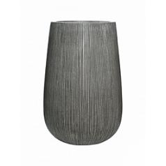 Кашпо Pottery Pots Fiberstone ridged dark grey, серого цвета patt high M размер  Диаметр — 44 см
