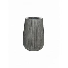 Кашпо Pottery Pots Fiberstone ridged dark grey, серого цвета patt high S размер  Диаметр — 29 см