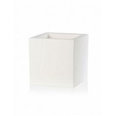 Кашпо TeraPlast Schio Cubo 40 white, белого цвета Длина — 40 см