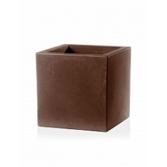 Кашпо TeraPlast Schio Cubo 50 bronze, бронзового цвета Длина — 50 см