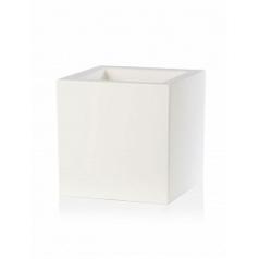 Кашпо TeraPlast Schio Cubo 50 white, белого цвета Длина — 50 см