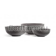 Кашпо Effectory Beton низкая чаша: темно-серый