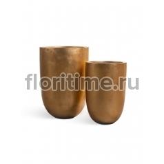 Кашпо Metal высокий конус-чаша: сусальное золото