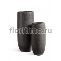 Кашпо Effectory Stone высокий конус-чаша: темно-серый камень