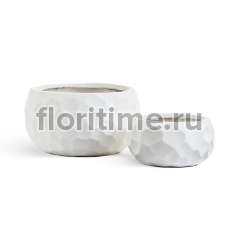 Кашпо Ergo Comb низкая  полусфера: белый камень.