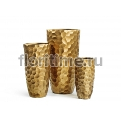 Кашпо Ergo Comb высокий закругленный конус: застаренное золото