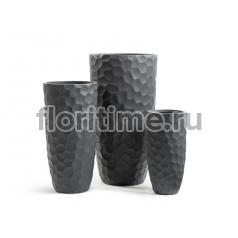 Кашпо Ergo Comb высокий закругленный конус: темно-серый бетон