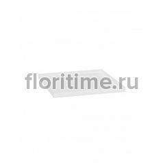 Поддон Pottery Pots Fiberstone saucer block 40, glossy white, белого цвета Длина — 43 см  Высота — 4 см