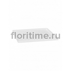 Поддон Pottery Pots Fiberstone saucer block 50, glossy white, белого цвета Длина — 53 см  Высота — 4 см
