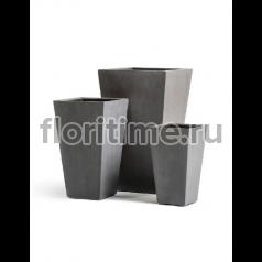 Кашпо Effectory Beton высокая трапеция : темно серый