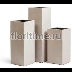 Кашпо Effectory Beton высокий куб : белый песок