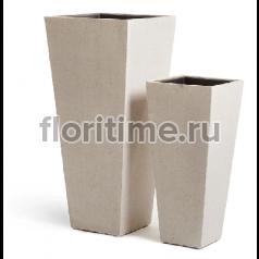 Кашпо Concretion Beton высокая трапеция: белый песок