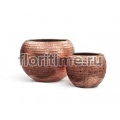 Кашпо Metal полусфера: розовая медь чеканка
