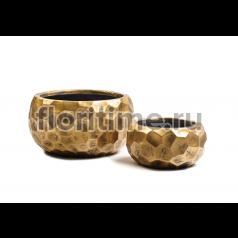 Кашпо Ergo Comb низкая  полусфера : застаренное золото