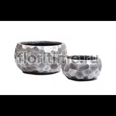 Кашпо Scale Comb низкая полусфера: застаренное серебро