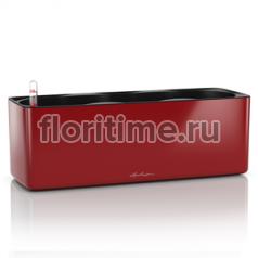 Кашпо Lechuza Cube Glossy Triple, ярко-красный глянец