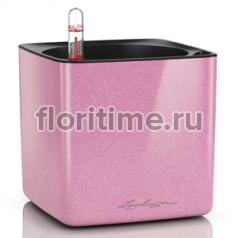 Кашпо Lechuza Cube Glossy Kiss, нежно-розовый глянец