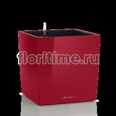 Кашпо Lechuza Cube, ярко-красный глянец