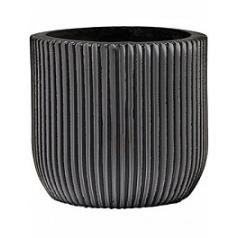 Кашпо Capi Nature egg planter groove 3-й размер black, чёрного цвета диаметр - 15 см высота - 14 см