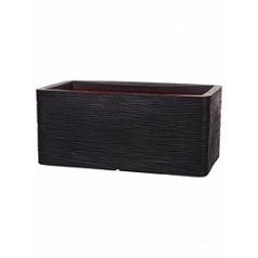 Кашпо Capi Nature rib nl pot rectangle black, чёрного цвета длина - 73 см высота - 32 см