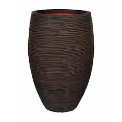 Кашпо Capi Nature rib nl vase vase elegant deLuxe тёмно-коричневого цвета диаметр - 45 см высота - 72 см