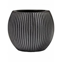 Кашпо Capi Nature vase ball groove 3-й размер black, чёрного цвета диаметр - 17 см высота - 14 см