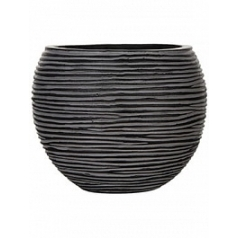 Кашпо Capi Nature vase ball rib iiii black, чёрного цвета диаметр - 23 см высота - 19 см